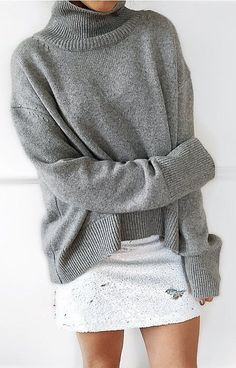 #outfit #ideas ·  Grey Neck Cowl Sweater // Ripped Skirt