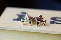 airplane cufflinks for a pilot groom