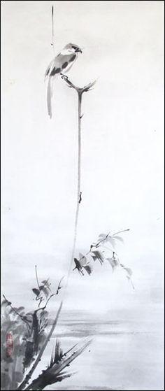 Shrike-small.jpg (251×595) Featured artist: #JanZaremba #brushpainting#sumie http://www.asianbrushpainter.com/blog/gallery/jan-zaremba/