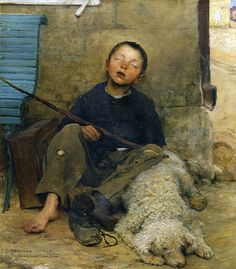 The Small Beggar Asleep, 1882 - Jules Bastien-Lepage an empathetic painting; lovely focus on exhausted boy's face; tenderness of the friendship between boy and dog Figure Painting, Painting & Drawing, Carl Spitzweg, Beaux Arts Paris, Kunst Online, Les Religions, Dog Art, Beautiful Paintings, Oeuvre D'art