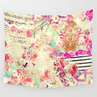 Wall Tapestries featuring Flowers Mix Vintage Patchwork by Girly Trend