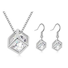 "First Love Lady ""The Crystal of Love"" Fashion Necklace Earrings Two-Piece Jewelry Set(White)	by First Love"