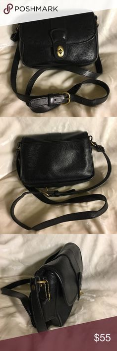 Coach Vintage black Pebbled leather crossbody bag Coach vintage black Pebbled leather crossbody bag, solid brass hardware, has 2 compartments inside, great for organizers, gently used, very good condition Coach Bags Crossbody Bags