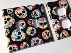 Sugar Skull Double Light Switch Plate Cover/ by COUTURELIGHTPLATES Sugar skull decor , sugar skull bathroom , sugar skull diy , candy skull decor candy skull nursery  #dayofthedeaddecor #calaverasdecor #sugarskulldecor #sugarskullnursery