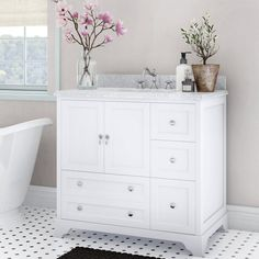 Charlton Home Bodaway Single Bathroom Vanity Set Base Finish: Chocolate, Top Finish: Carrara White 36 Inch Bathroom Vanity, Bathroom Vanity Lighting, Small Bathroom, Bathroom Vanities, Master Bathroom, Bathroom Ideas, Remodel Bathroom, Dream Bathrooms, Powder Room Decor