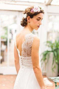 Eleanor is a light and floaty romantic dress with a deep v neckline. The back is open with delicate lace and tiny buttons to finish it off.lace wedding dresses with open back Wedding Dress Bustle, 2015 Wedding Dresses, Wedding Boudoir, Wedding Attire, Wedding Designs, Wedding Styles, Dream Wedding, Wedding Day, Wedding Things