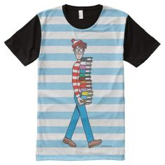 Shop Where's Waldo Carrying Stack of Books All-Over-Print T-Shirt created by WheresWaldo. Personalize it with photos & text or purchase as is! Wheres Waldo, Stylish Shirts, Stack Of Books, S Shirt, Printed Shirts, Carry On, Custom Design, Print Design, Sleeves