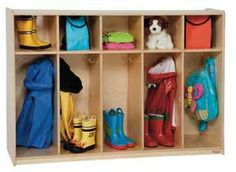 """Wood Designs Tip-Me-Not 5 Section Tot Locker GREENGUARD'""""® Children & Schools certified. Extra tip-resistant and just the right height for young toddlers to hang up their own coats makes these the safety tot lockers available. Features five sections with America Furniture, Heart Of America, Preschool Classroom, Preschool Ideas, School Furniture, Baltic Birch Plywood, Early Learning, Wood Design, Kids Playing"""