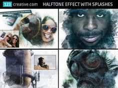 """► PHOTOSHOP HALFTONE EFFECT WITH SPLASHES - one .PSD layered file with 3 different """"splash"""" effects and 4 halftone treatments that can be used separately, all at once, or disabled. Learn more: http://www.123creative.com/photoshop-add-ons-photo-actions-atn-and-text-effects/1332-photoshop-halftone-effect-with-splashes.html"""