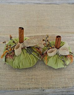 Velvet PumpkinsRustic Fall by timewashed on Etsy, $24.00 Real cinnamon stick stems make these smell wonderful!!