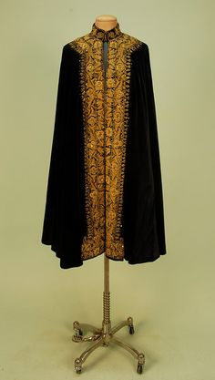 Black Velvet Cape with Heavy Gold Embroidery, c. 1900.