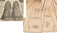 Der Bazar 1874: Morning gown from white lawn; 28a. and 28b. front part, 31. back part in half size