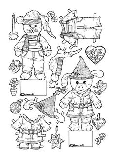 Karens Kravlenisser. Cut-outs and Colouring Pages. : Christmas Bear and Doll Cut-outs to Colour. Jule bamse og dukke klippeark til at farvelægge.