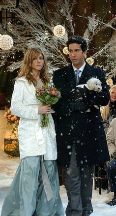 Rachel and Ross have a stylish wedding moment in Friends.