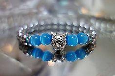 X-MOMO / Náramok LEOPARD - hematit, modré sklo Moma, Pandora Charms, Minerals, Sapphire, Beaded Bracelets, Wedding Rings, Charmed, Engagement Rings, Beads