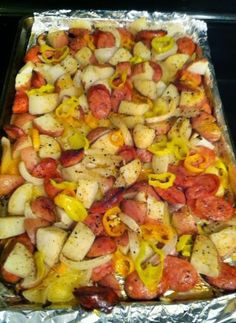{{ Oven-roasted Sausages, Potatoes, and Peppers }} - FOODGAZM..