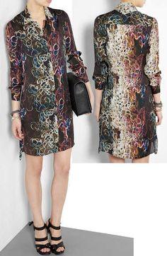 Theyskens Theory Isaph Silk Print Shirt Dress