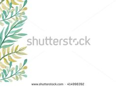 Card With Watercolor Green And Yellow Fern