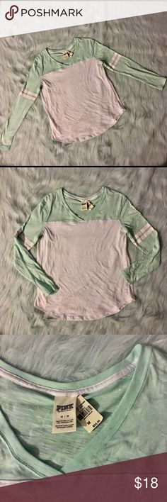 NWT VS Pink Mint varsity long sleeve tee Brand new with tags mint & white long sleeve Victoria's Secret PINK long sleeve tee shirt. PINK Victoria's Secret Tops Tees - Long Sleeve
