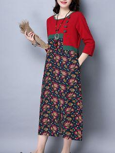 Vintage Women Floral Printed Patchwork Long Sleeve Pocket Dresses
