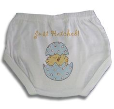 Light of Mine Designs Just Hatched Blue Diaper Cover/Panty Brief, 12 Months $17.50
