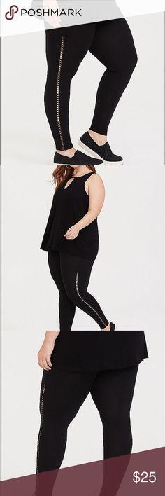 3c0316f406c NWT Torrid size 3 Lattice Side Black Leggings Full length 3x torrid Pants  Leggings Black Leggings