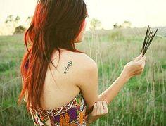 Nice Key Tattoo On Back Of Shoulder
