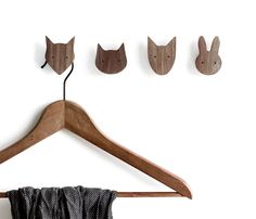 Set of 4 animal wall hooks - cat, dog, fox and rabbit. Animals not sold separately. These hooks are perfect for clothes hangers, small hanging items