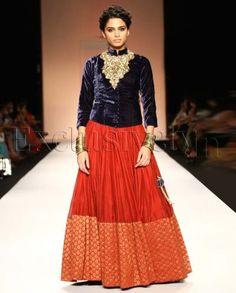 #Exclusivelyin, #IndianEthnicWear, #IndianWear, #Fashion, Yasmin Blue Velvet Sherwani Choli With Brick Red Lehnga
