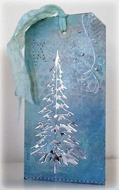 card tag christmas tree trees Tim Holtz woodland tree sizzix Silver tree - Cards and Paper Crafts at Splitcoaststampers Christmas Gift Tags, Christmas Paper, Xmas Cards, Handmade Christmas, Holiday Cards, Christmas Crafts, Blue Christmas, Christmas Trees, Painted Christmas Cards