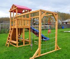 "Children's Playground ""Madrid""- Детская игровая деревян… - All For Garden Kids Outdoor Playground, Playground Set, Backyard For Kids, Backyard Playset, Tree House Plans, Design Jardin, Kids Play Area, Play Houses, Pergola"