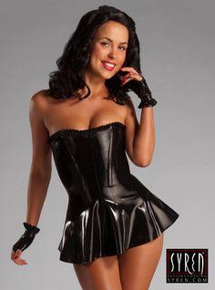 Rubber Corset Dress w/ Ruffle Trim ~ Syren Latex Fetish Fashion by SyrenLatex on Etsy https://www.etsy.com/listing/182421959/rubber-corset-dress-w-ruffle-trim-syren