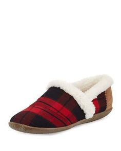 Shop plaid faux shearling slippers dark red from Toms in our fashion directory. Toms Style, Shearling Slippers, Plaid Fabric, Red Shoes, Red Plaid, Dark Red, Corduroy, Slip On, Cozy