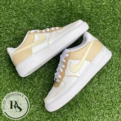 Air Force One Shoes, Air Force Ones, Nike Air Force, Beige Nike Shoes, Custom Shoes, Customised Shoes, Custom Air Force 1, Hype Shoes, Everyday Shoes