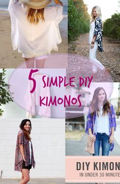 Ladies! It's time for fashion DIY! Make your own kimono! Kimonos are perfect cover ups for summer because they are made out of light and breezy fabrics! See tutorials now -----> http://fabulesslyfrugal.com/5-simple-diy-kimonos-2/