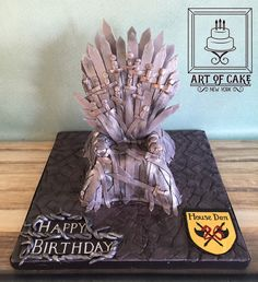Game of Thrones birthday cake with some swords :)