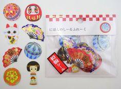 Japanese-sticker-flakes-Maneki-neko-Daruma-dolls-Kokeshi-dolls-fans-etc