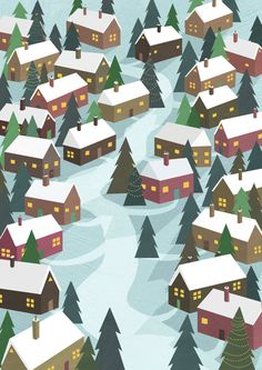Christmas Gift Wrap/Wrapping Paper little houses by JustineHowlett, $10.00