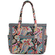 Vera Bradley Get Carried Away Tote in Parisian Paisley ($92) ❤ liked on Polyvore featuring bags, handbags, tote bags, parisian paisley, totes, vera bradley purses, zippered tote, quilted tote bag, vera bradley tote and travel tote