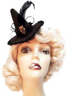 Hoot Owl Mini Gothic Steampunk Witch Hat by JenkittysCloset, $25.00