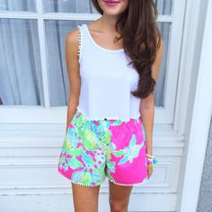 Lilly Pulitzer Pom Pom shorts {made by @customlilly on Instagram}