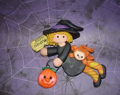 Black Cat Witch Wizard Hat Polymer Clay por alongcameaspider1