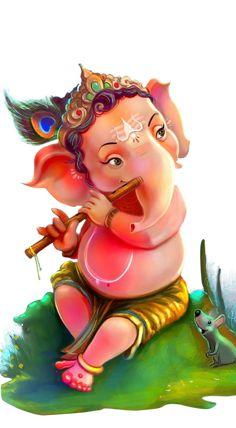 Krishna Art, Radhe Krishna, Ganesh Chaturthi Images, Shree Ganesh, Haida Art, Ganesha Painting, Shadow Photography, Lord Ganesha, Indian Gods