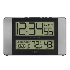 La Crosse Technology Atomic Digital Wall Clock with Indoor Temperature & Humidity, Multicolor