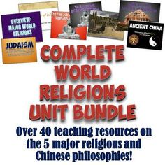 Complete World Religions Unit Bundle by Students of History Religious Studies, Religious Education, Islamic Studies, Bible Studies, Teaching Social Studies, Teaching Resources, Teaching Posts, World History Classroom, History Education