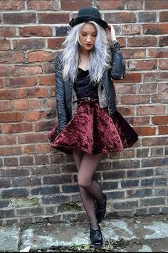 Love the red velvet skirt with this