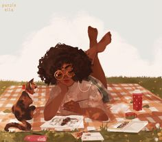 Anime picture with original punziella single short hair black hair smile holding barefoot signed lips wind nail polish eyebrows shadow crossed legs dark skin outdoors plaid skirt checkered leg lift (legs lift) Art And Illustration, Black Girl Art, Art Girl, Pretty Art, Cute Art, Art Sketches, Art Drawings, Bd Art, Animation