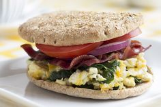 Recipe:+Turkey+Bacon,+Egg+White,+Spinach+Breakfast+Sandwich