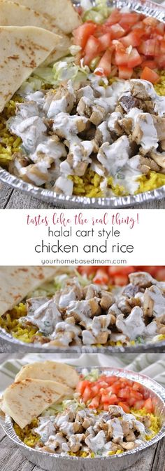 Halal Cart Style Chicken and Rice - used dry herbs and added garlic powder and some dill weed to white sauce. Delish!
