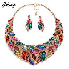 Bộ đồ trang sức vòng cổ pha lê earring blue red gem choker bijoux trang phục za thời trang lớn dây chuyền mặt dây nữ 2016 jewel